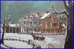 Vintage Christmas Snow Fields Painting Horses Sleigh Trees House Signed M Mendez
