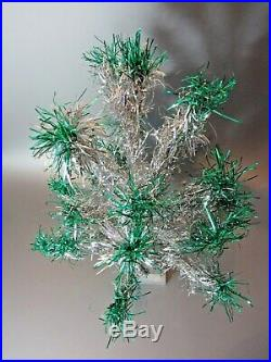 Vintage Christmas Table Top Tree 25 Branch 2 FT Silver w Fountain green Aluminum