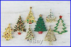 Vintage Christmas Tree Brooch Lot 8 Pc Rhinestone Enamel Retro Pin Xmas Holiday