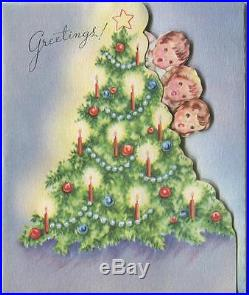Vintage Christmas Tree Candles Angels Stars Children Pop Up Greeting Card Print