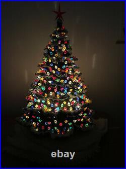 Vintage Christmas Tree Ceramic Nowell Big 24 Stunning Flocked Original Light