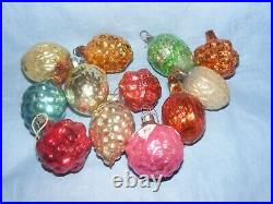Vintage Christmas Tree Decorations Glass Baubles Nuts Rare Antique Glass