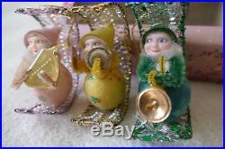 Vintage Christmas Tree Decorations RARE Boxed Set Six Festive Santa Elves 50's