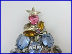 Vintage Christmas Tree Dragonfly Butterfly Multi-Color Rhinestone Brooch Pin