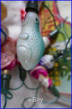 Vintage Christmas Tree Fairy Light Decorations Glass Bulbs ASTRA JAPAN 50's