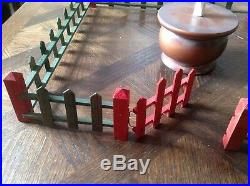 Vintage Christmas Tree Fence Putz Original Box Art Deco Graphics