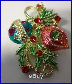 Vintage Christmas Tree Ornaments Enamel Color Rhinestone Pin Brooch RARE