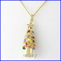 Vintage Christmas Tree Pendant Charm 14K Yellow Gold Colorful Beads 1.5 Length