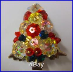 Vintage Christmas Tree Rivoli Bright Color Poinsettia Cut Rhinestone Pin Brooch