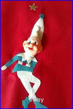 Vintage Christmas Tree Skirt Elves Pixies One of a Kind Mid Century Kitsch