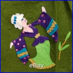 Vintage Christmas Tree Skirt Finished 12 Days Of Christmas Felt Applique Bucilla
