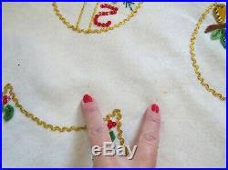 Vintage Christmas Tree Skirt Handmade White Felt Sequins 12 Days Christmas