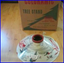 Vintage Christmas Tree Stand Large Metal Coloramic in original box
