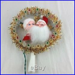 Vintage Christmas Tree Topper MR AND MRS SANTA CLAUS Wreath Spinning Lights