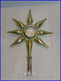 Vintage Christmas Tree Topper Mercury Glass Ornament Feather Tree Dbl Indent