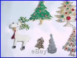 Vintage Christmas Trees 38 PIN LOT Rhinestone Eisenberg Ice Avon Brooks #1804