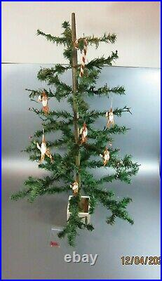 Vintage Christmas goose feather tree Germany wood stand 34 Santa Chenille Elf