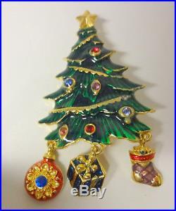 Vintage Christopher Radko Christmas Tree Enamel Rhinestone Charms Pin Brooch
