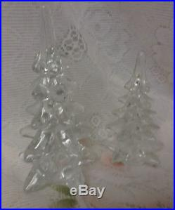 Vintage Clear Crystal Solid Art Glass Christmas Trees Set of 2