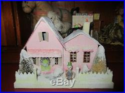 Vintage Cody Foster Pink Christmas Cottage House Snowman Bottle Brush Trees Mica
