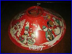 Vintage Coloramic 1950s Christmas Tree Stand Snowmen Snowman Red Tin Litho