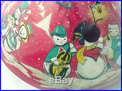 Vintage Coloramic Christmas Tree Stand Mr & Mrs Snowman Vivid Colors Red
