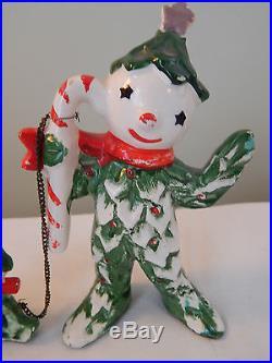 Vintage Commodore Japan Christmas Tree Man & Kid Candy Cane Tree People