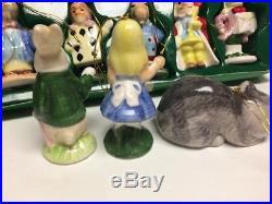 Vintage Complete Set Of 12 Alice In Wonderland Ceramic Christmas Tree Ornaments
