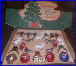 Vintage Complete Set of Unbreakable Plastic Christmas Tree Ornaments