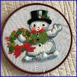 Vintage Completed Christmas Cross Stitch Hoop Frame Santa Mrs Claus Tree Snowman