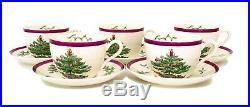 Vintage Copeland Spode Christmas Tree Magenta Set of 5 Cups And Saucers Rare