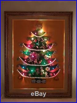 Vintage Costume Jewelry Art Christmas Tree Framed Rhinestone Brooch +++ Lighted