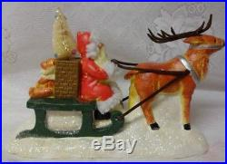 Vintage Cracker Barrel Christmas Brush Tree Santa On Sleigh Reindeer Decoration