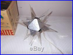 Vintage Crystalite Star Lucite Lighted Christmas Tree Topper In Box