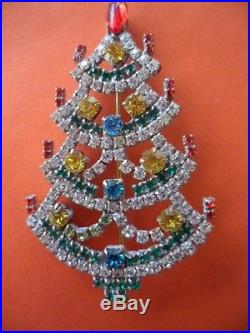 Vintage Czech Glass Crystal Christmas Tree Xmas With Gold Baubles Brooch Pin