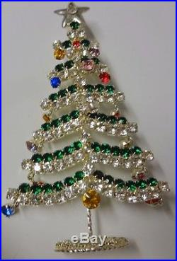 Vintage Czech Huge Charmed Rhinestone Ornaments Christmas Tree Pin Brooch