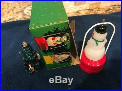 Vintage DOUBLE Christmas 5 SNOWMAN /TREE BATTERY LANTERN Japan IN BOX rare