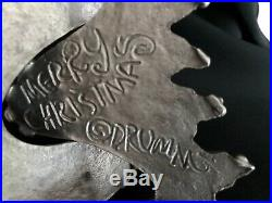 Vintage Don Drumm Pewter MERRY CHRISTMAS Tree, NWT, signed, gallery card