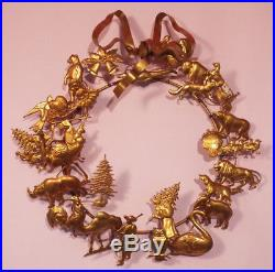 Vintage Dresden Style METAL WREATH All Holiday 13 Brass Christmas Tree Easter