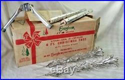 Vintage EVERGLEAM STAINLESS ALUMINUM 4' XMAS TREE Retro Mid Century