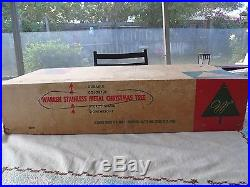 Vintage Early 60's Warren Stainless Metal Christmas Tree with Stand