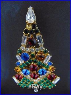 Vintage Eisenberg Ice Christmas Tree Multicolor Brooch Pin