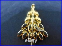 Vintage Eisenberg Ice Christmas Tree Pin Brooch Clear & Green Crystal Rhinestone