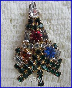 Vintage Eisenberg Ice Prong Set Christmas Tree Brooch Pin Rhinestone Jewelry