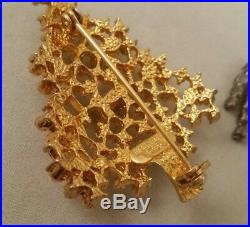 Vintage Eisenberg Ice Rinestone Snowman & Gold Christmas Tree Brooch Lot