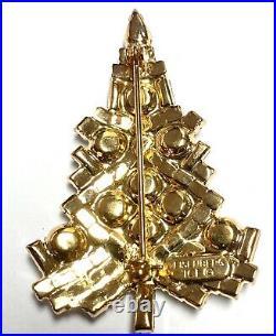 Vintage Eisenberg Ice Signed Christmas Tree Clear Sparkly Rhinestones Pin Brooch