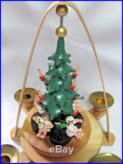 Vintage Erzgebirge Pyramid Carousel Christmas Tree Musical Angels Orig. Box GDR