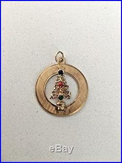 Vintage Estate 14K Yellow Gold Charm Pendant Holiday Christmas Tree 2.82g