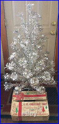 Vintage Evergleam Aluminum Pom Pom Christmas Tree 4 Ft 58 Branches Complete Box