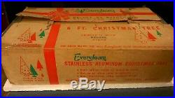 Vintage Evergleam Aluminum Silver Christmas Tree 6 Foot with 94 Branches IN BOX
